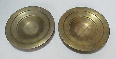 Old Vintage Original Brass Traditional Pot Lids Plates Pair Collectible