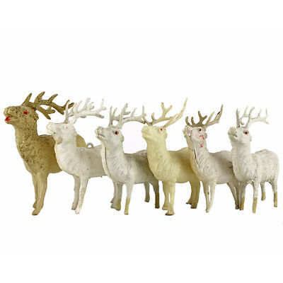 6 Vintage White Plastic Christmas Reindeer Japan Blow Mold, Thin, Hard Celluloid