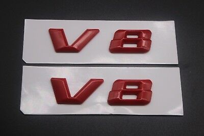 2 X V8 Badges Red Matte Mercedes Benz C63 S63 E63 Ml63 Sl63 Sl55 Clk55 Sl500