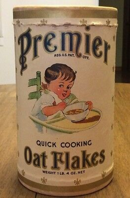 1Lb 4oz PREMIER Quick Cooking Oat Flakes Cardboard Advertising Container / Box
