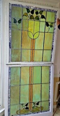 Antique American Chicago Stained Glass Window Double Hung Architectural Salvage