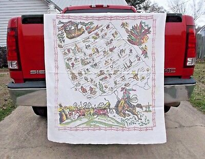 """Vintage Wild West States *COWBOY* Linen Tablecloth - 50"""" x 44"""" neat looking"""