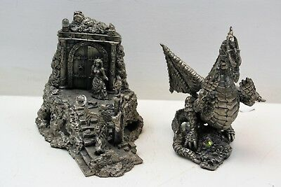Large Size Pewter Figurine Dragon & Castle 10""