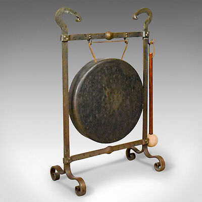 Large Antique Bronze Dinner Gong, Iron Frame, Medieval Styling, Victorian c.1900