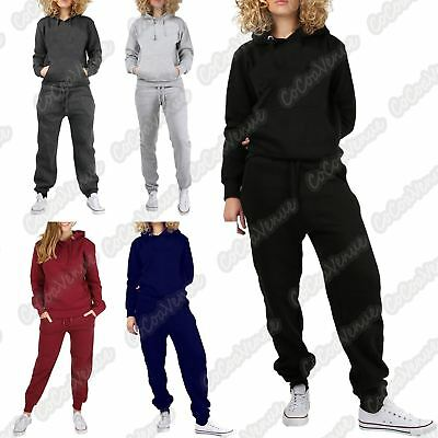 New Ladies Hooded Plain Fleece Pullover Top Bottoms Loungewear Tracksuit Jogsuit