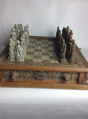 Vintage Antique Stone and Resin Carved Mexican Aztec Chess Set