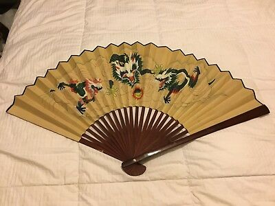 Vintage Large Cherry Wood & Hand Painted Oriental Dragon Fan - Wall Art Display
