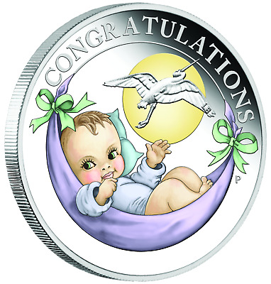 2018 Australia NEWBORN BABY 1/2 oz SIlver Proof 50c Coin Colorized
