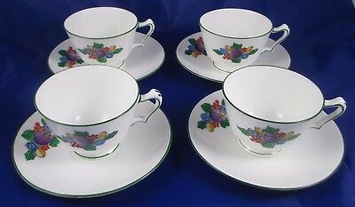 4 Antique Crown Staffordshire Art Deco Cups Saucers 10173 RN672606 c1906+ RARE