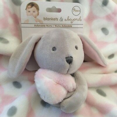 NWT Security BLANKETS & BEYOND Medallion BUNNY Rabbit NUNU Lovie Lovey PINK Girl