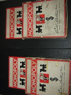 Vintage pair of Patent Pending Monopoly games with matching boards
