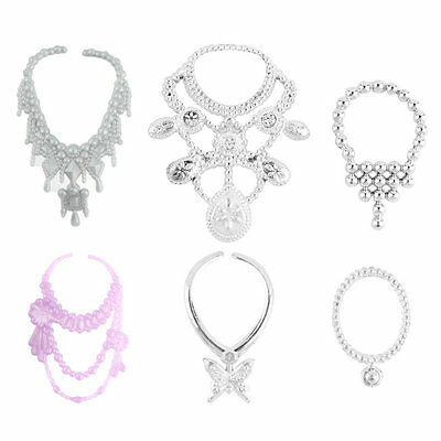 6pcs Fashion Plastic Chain Necklace For Barbie Doll Party Accessories FK