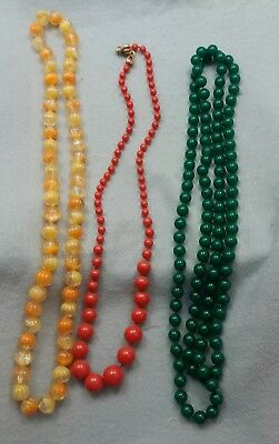Vintage lot of 3 Beaded Necklaces Orange Red/Coral Green