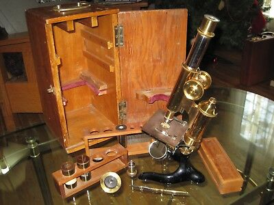 Antique Vintage Brass E. Leitz Wetzlar Microscope #115738 with accessories