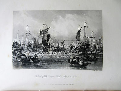 1845 ALLOM CHINA lot 8 prints Empire #5  Dragon Boats AMOY Harbor Chusan Spring