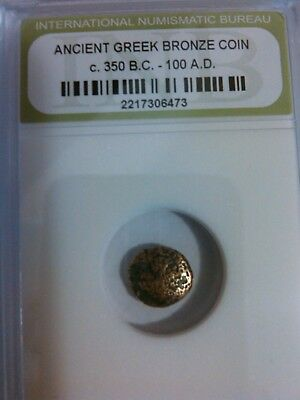 One Ancient Authentic Bronze Greek Coin, Certified Rare Coin from 350 BC - 100AD