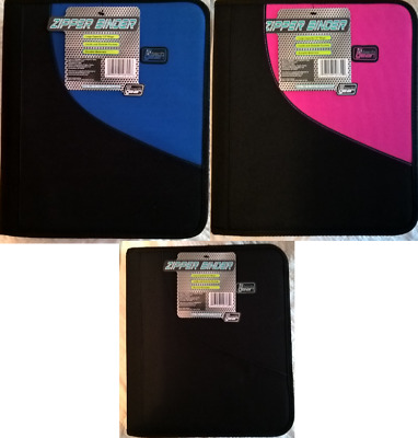 """Tech Gear Zipper Binder, 1.5"""", 3 Rings, Pink, Black, and Blue Colors Available"""