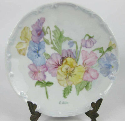 Bareuther Waldsassen Baveria Hand Painted Plate Signed! Sweet Pea Flowers