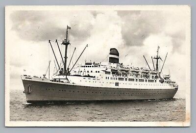 SS Ryndam—Holland America Line RPPC Vintage Steamer Photo—Dutch Boot ~1950s