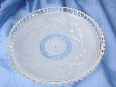 "Vintage 14"" Round Ceiling Light Cover ~ Swirls, Ribbed Rim, Thick Frosted Glass"