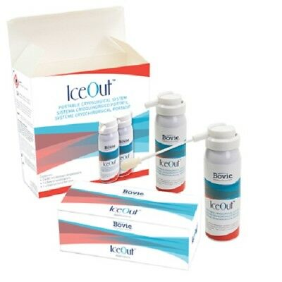 Bovie Iceout Portable Cryosurgical System CRY5 two 80 ml cans w/ 5mm applicators