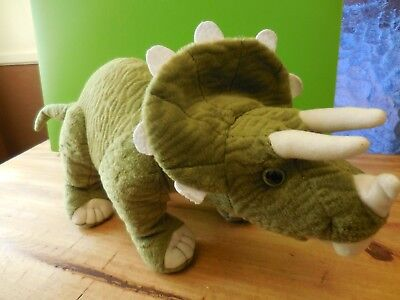 "Vintage 1994 The Petting Zoo ""Triceratops"" Dinosaur Soft Plush Green 17"" Long"