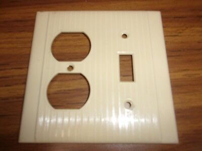Vintage Ivory Duplex Receptacle Single Switch Combo Plate Ribbed & Striated
