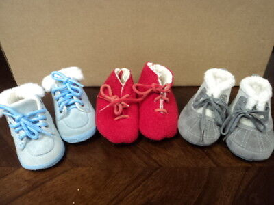 Lot Of 3 Pair Infant Boys Size 0-3 And 3-6 Months Winter Shoes And Boots - Cute!