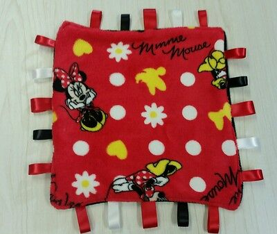 Minnie Mouse super soft fleece red taggie baby Blanket Gift **Handmade** L@@K