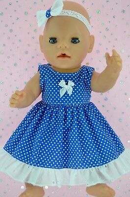 "Play n Wear Doll Clothes For 17"" Baby Born ROYAL BLUE POLKA DOT DRESS~HEADBAND"