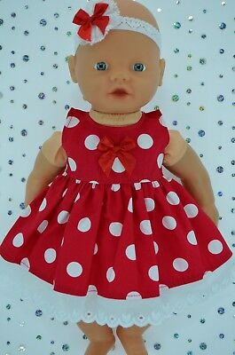 "Play n Wear Doll Clothes 13""Little Baby Born/Mommy RED POLKA DOT DRESS~HEADBAND"