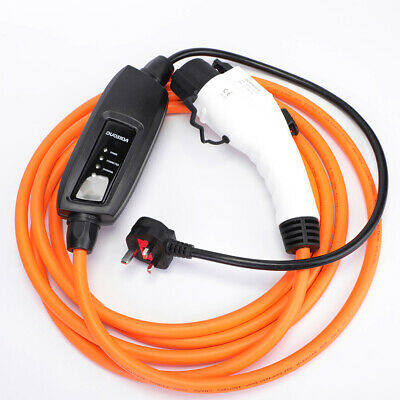 Portable 10m granny charger cable 10 amp, UK 3 pin to Type 1 EVSE, EV charging