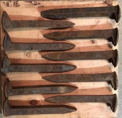 10-Rusty-Vintage-Railroad Spikes-Antique-Blacksmith-Steel-Train-Track-RR