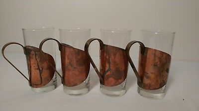 Antique Arts and Crafts Era Mission Style Copper/Brass Tea Drinking Glass Mugs 4