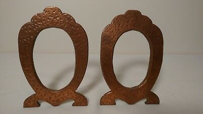 Antique Arts and Crafts Era Mission Style Hammered Copper Picture Frames 2