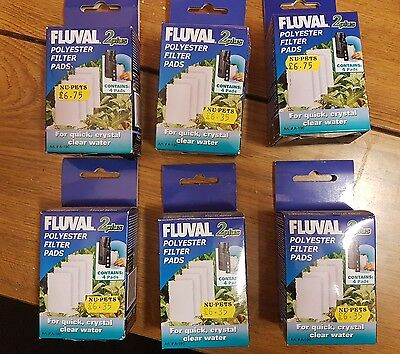 Fluval 2+ Plus Poly Polyester Pad Genuine Product Pack of 4 X 6 =24 pads