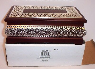 Godinger Jewelry Box / Rosewood Finish With Silver Accents /  New