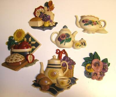 6pc Homco BURWOOD PLAQUES WALL Pansy Flowers Teapot baking VINTAGE
