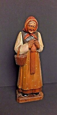 Wooden Hand Crafted Standing Old lady Knitting with basket Folk Art Sculpture*
