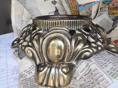 1129c  ONE ANTIQUE VINTAGE CAST BRASS ORNATE LAMP BASE FOOTED