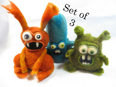 Fibre art OOAK monsters set of 3