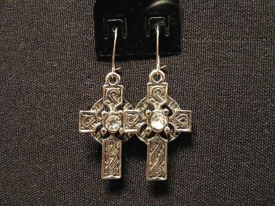 Celtic Cross Small Vintage Earrings With A Clear  Coloured Bead Goth Uk Import