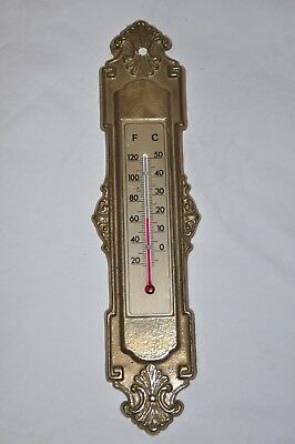 "Antique Victorian Cast BRASS Wall THERMOMETER Ornate Vintage 9.5"" tall"