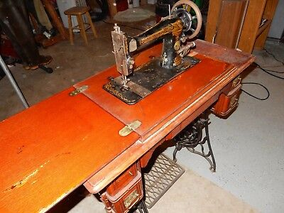 SINGER Antique Vintage Treadle Sewing Machine with Cabinet Table Wood Iron