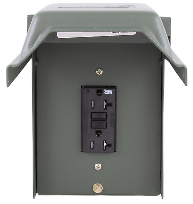 GE 20 Amp Outdoor Outlet GFI Receptacle Backyard Lockable Heavy Duty Steel 120 V