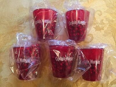 5 Captain Morgan Shot Glasses/Necklaces - NEW (red plastic shot glass & beads)