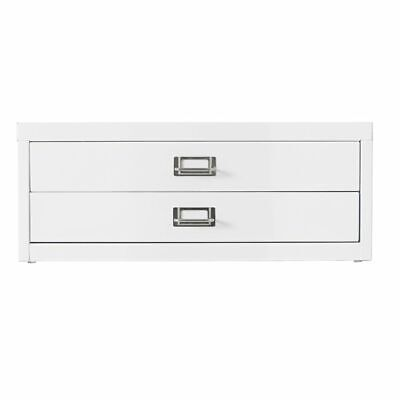NEW Spencer Desktop 2 Drawer Office Filing Storage Cabinet A3 White with Feet