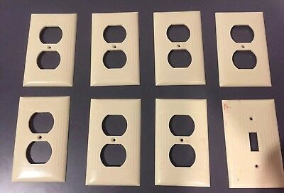 Vintage IVORY Outlet Wall Cover Plate Ribbed Bakelite Sierra Electric Corp. Lot