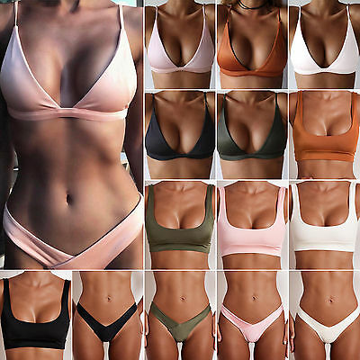 Women's Bikini Bra Tops Thong Bottoms Swimsuit Sports Bathing Beachwear Swimwear