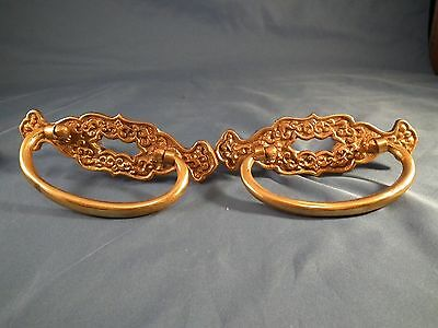 Set of (2) Vintage Brass Hardware Drop Handle Drawer Pulls Filigree
